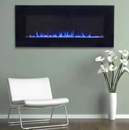 NW Modern Black Electric Fireplace LED Blue Flame Glass Remo