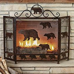 Rust Finish Bear Fireplace Screen
