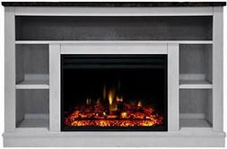 """Cambridge Seville Electric Fireplace Heater with 47"""" White T"""