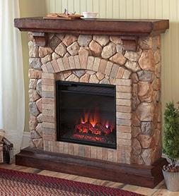 Stacked Stone Free Standing Electric Fireplace Heater Realis