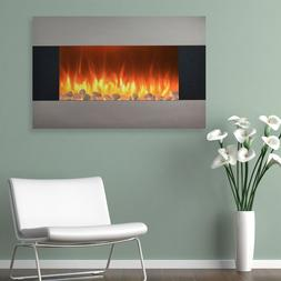 """Steel 35"""" Electric Wall Mount Hang Fireplace Heater Home Liv"""