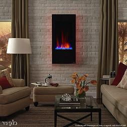"""Clevr 32"""" Vertical Wall Mounted Fireplace Heater, with Adjus"""