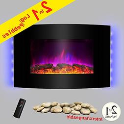 """AKDY 36"""" Wall Mount  2-in-1 Log and Pebble Style Indoor Elec"""