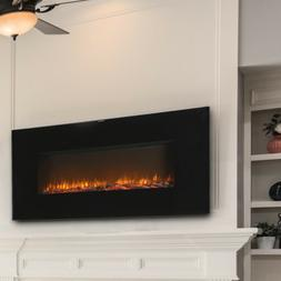 Wall Mount Electric Fireplace Hang Heater Glass Remote Contr