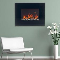 Wall Mount Electric Fireplace Heater Glass Panel Flame Inser