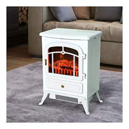 White 1500W Electric Fireplace Freestanding Fire Flame Stove