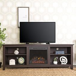 """WE Furniture Wood TV Stand with Fireplace, 70"""", Espresso"""