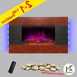 """AKDY 36"""" Wooden Style Wall Mount Tempered Glass Log Pebble 2"""